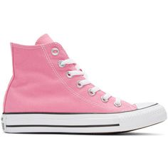 Converse Pink Classic Chuck Taylor All Star OX High-Top Sneakers ($51) ❤ liked on Polyvore featuring shoes, sneakers, pink, converse high tops, star sneakers, high top canvas sneakers, lace up high top sneakers and converse shoes