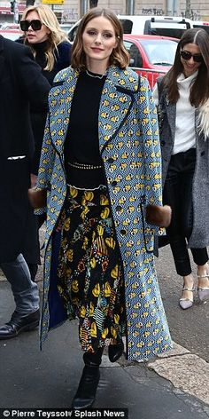 Bold choice: Olivia Palermo sported a bold, heavily layered and colourfully printed ensemble for her appearance at the event on February 22, 2018 # MFW