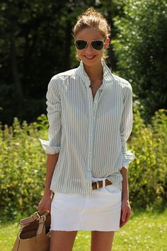 aviators...check.  Striped oxford....check.  White mini jean skirt...gotta have.  Love this..sloppy, classic, hair tousled and pulled up.... :) yup!