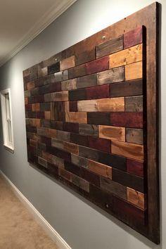 Extra large wood wall mural Wood Wall Design, Diy Wood Wall, Wooden Wall Decor, Diy Wall Art, Wooden Walls, Wood Art, Large Wood Wall Art, Pallet Walls, Pallet Wall Art