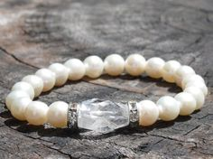 Pearl Wrist Mala with Quartz Crystal by GreatEasternSun on Etsy, $17.00