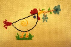 cross stitch chicken... could do on kitchen towels :)