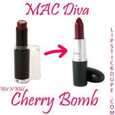 MAC Divadupe Wet N Wild Mega Matte LipstickCherry Bomb #dupe #dupes #lipstickdupe #macdupe www.lipstickdupe.com Mac Diva Lipstick, Wet N Wild Lipstick, Drugstore Makeup Dupes, Mac Dupes, Maybelline Lipstick, Matte Lipsticks, Best Selling Mac Lipsticks, Popular Mac Lipsticks, Skincare Dupes