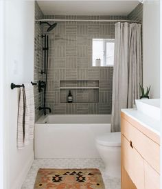 Bathroom Trends: Are Stacked Tiles the New Subway Tile? Greige shower tile in a light and bright bathroom Modern Bathroom Design, Bathroom Interior Design, Decor Interior Design, Bathroom Designs, Modern Interior, Kitchen Interior, Mid Century Modern Bathroom, Interior Decorating, Bad Inspiration