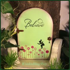 Fairy Door, Fairy Garden, Garden Decor, Green, Birthday, Spring, Girls Room Decor, Fairy, Outdoor, Wooden, Gifts for her,  Mothers Day, Door by WoodenBLING on Etsy