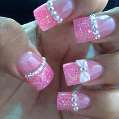 Pink sparkly french nails with 3D art #acrylic #bow #rhinestones