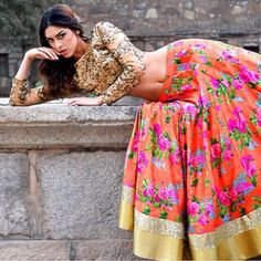 Stunning Orange Floral Printed #Lehenga Set With Gold Sequin #Blouse By Kylee. Available At Exclusively In.