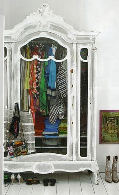 love the idea of a white room, then this wardrobe with really colourful clothes in it...or all white, which most of my summer wardrobe is!!