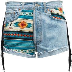 Aztec Fringed Shorts ❤ liked on Polyvore featuring shorts and fringe