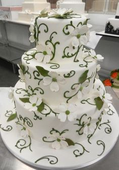 Green and white blossom wedding cake Floral Wedding Cakes, Wedding Cake Designs, Wedding Themes, Wedding Ideas, Tangled Wedding, 3 Layer Cakes, Carlos Bakery, Summer Cakes, Fantasy Wedding