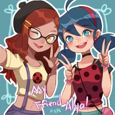 "Fan art of Marinette Dupain-Cheng and Alya Césaire from the CGI animated series ""Miraculous: Tales of Ladybug & Chat Noir"" Alya Ladybug, Miraclous Ladybug, Ladybug Comics, Anime Miraculous Ladybug, Miraculous Ladybug Wallpaper, Lady Bug, Cat Noir Cosplay, Los Miraculous, Ladybug Und Cat Noir"