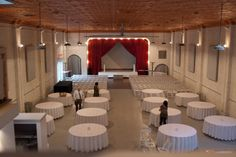 wedding reception and ceremony in same room | Linens on and ready for the rehearsal
