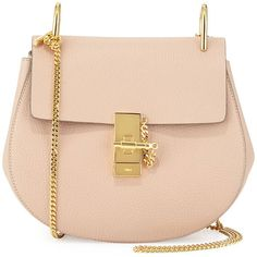 Chloe Drew Small Chain Saddle Bag (2 435 AUD) ❤ liked on Polyvore featuring bags, handbags, shoulder bags, pink, flap handbags, chain shoulder bag, pink purse, chain strap shoulder bag and round handbags