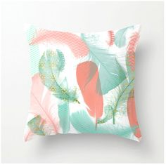Pastel Feathers Decorative Throw Pillow - home decor - aqua peach coral turquoise - feather design accent cushion from bbrunophotography on Etsy.