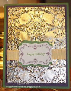 Teeny Tiny Wishes, Four Frames, Decorative Label punch, Vintage Wallpaper EF,  Aluminum Foil, Ribbon