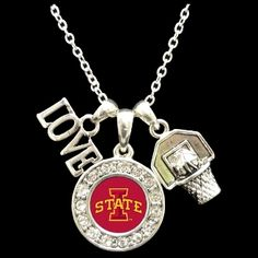 Iowa State Cyclones 3 Charm Basketball Necklace - Charming Collectables