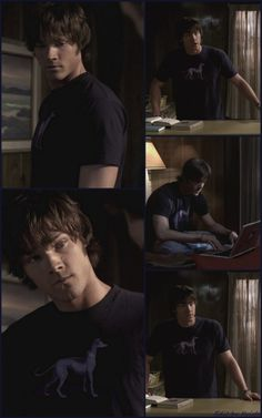 Do you remember the purple shirt with a dog Sammy wore? ♥ 1x18 Something Wicked This Way Comes #SPN #Sam (Click to enlarge)