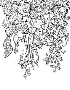 "Flower Coloring pages colouring adult detailed advanced Up-Side-Down printable Kleuren voor volwassenen ""mon jardin intérieur"" Coloring book agenda 2015"