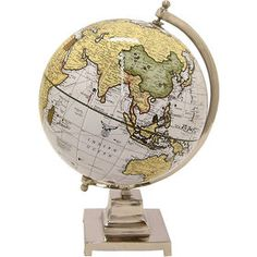 Give your office or study a touch of classic elegance by displaying the Three Hands White and Yellow Desktop Globe atop your desk. The globe allows. Detailed World Map, Globe Decor, White Highlights, World Globes, Yellow Background, Wood Pieces, At Home Store, Neutral Tones, Nickel Finish