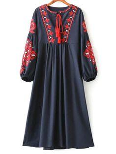 Lantern Sleeve Embroidered Smock Dress