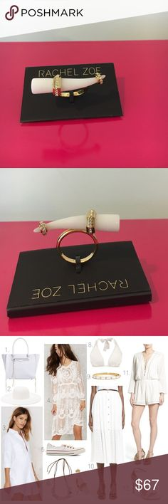 New Rachel Zoe Hale 12k✨Statement Ring New With Tag  Stay in Style with the latest Fashion Pieces Gorgeous Rachel Zoe Hale' Statement Ring Size 7 Pavé-set crystals stud the metallic settings that embellish a luminous, polished horn in a statement-making ring. Pair this piece with an assortment of understated bands for a cool mix of styles. 12k-gold plate/acrylic/cubic zirconia. Imbedded Rachel Zoe & 7 inside Band Sold Out Everywhere Nordstrom's Retail Price $95 sold out! Reasonable offer…