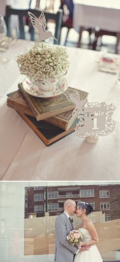 Lovely way to decorate tables with vintage tea cups and gypsophila