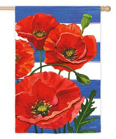 Look at this Poppies & Stripes Outdoor Flag on #zulily today!