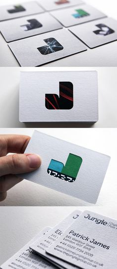 Clever Three Layered Die Cut And Textured Business Card Design