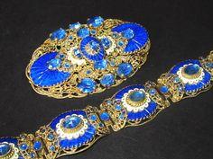 Vintage Antique Art Deco Signed Czech Brooch Pendant N Bracelet Set Neiger Bros   eBay