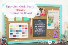 Simple Upcycled Cork Board Turned Inspiration Board