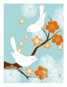 White Love Birds (blue/orange)