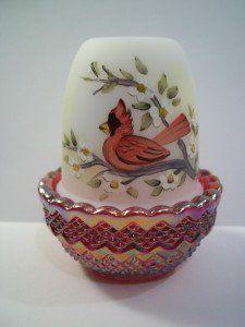 Mosser Glass CARDINAL BIRD HP Ruby Red Carnival Base Opal FAIRY LIGHT LAMP