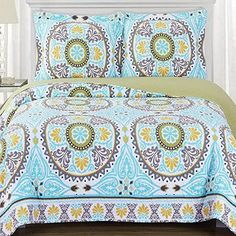 Boho Chic Bohemian Coverlet Quilt Shams Set Double Full Queen Size Green Aqua Blue Mandala Medallion Pattern Lightweight Reversible Wrinkle Free Hypoallergenic Oversized 3 Piece Bedding