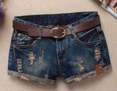 Hot 2016 Summer Shorts Women Vintage Club jeans Denim Shorts Sexy Hip Hop Skull Patch Plus Size Ripped Shorts Without Belt