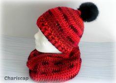 Bommelmütze und Loop , rot / schwarz von Chariscap - Häkeln und Stricken auf DaWanda.com