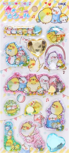 cute colorful bird liquid stickers by Crux from Japan, Animal Stickers, Sticker, Stationery Shop modeS4u
