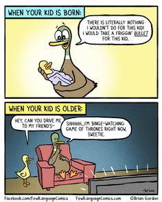 Fowl language comics, parenting humor и mommy humor. Xavier Rudd, Parenting Memes, Kids And Parenting, Parenting Articles, Fowl Language Comics, Brian Gordon, The Awkward Yeti, Excuse Moi, Funny Jokes
