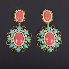 Moroccan Scroll Earrings Coral, now featured on Fab.