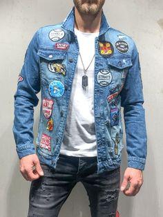 Embroidery denim patch ideas for 2019 Denim Jacket Patches, Denim Jacket Men, Camo Jacket, Denim Jackets, Denim Jacket Fashion, Mens Fashion Suits, Streetwear Jeans, Denim Art, Men's Denim