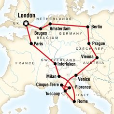 Map of the route for Europe Encompassed
