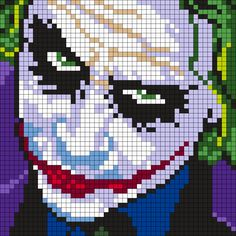 Heath Ledger As The Joker (Square) Perler Bead Pattern / Bead Sprite – bügelperlen / hama – Hama Beads Kandi Patterns, Pearler Bead Patterns, Perler Patterns, Beading Patterns, Embroidery Patterns, Cross Stitching, Cross Stitch Embroidery, Cross Stitch Patterns, Minecraft Pixel Art