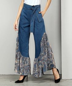 Belted Printed Split-joint Jean Bell-Bottom Material Polyester , Denim Style Loose , A-line , Empire Feature Floral ,. Denim Fashion, Fashion Pants, Fashion Dresses, Womens Fashion, Dope Fashion, Diy Jeans, Jeans Pants, Trousers, Mode Hippie