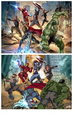 What if the MALE Avengers had to pose like the FEMALE Avengers...