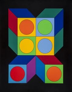 Victor Vasarely (1906-1997) Untitled screenprint in colours, signed in ball point pen, inscribed F.V.235/250, on thick wove paper, with full margins, sheet 900 x 720 mm (35 1/2 x 72 3/8 in)