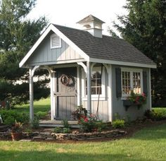 Love the colors of this garden shed. - CLICK THE IMAGE for Lots of Shed Plan Ideas. garden shed 23 Super Cool Backyard Garden Ideas Diy Storage Shed Plans, Diy Shed, Storage Sheds, Backyard Sheds, Outdoor Sheds, Backyard Studio, Verge, She Sheds, Potting Sheds