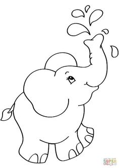 Cartoon Elephant coloring page from Elephants category. Select from 31983 printable crafts of cartoons, nature, animals, Bible and many more. Cartoon Coloring Pages, Animal Coloring Pages, Coloring Sheets, Adult Coloring, Art Drawings For Kids, Easy Drawings, Elephant Drawing For Kids, Cartoon Elephant Drawing, Elephant Drawings