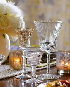 A mix of crystal and pressed-glass vintage stemware adorns the holiday tabletop. - Photo: Peter Krumhardt