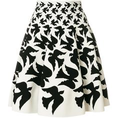 Alexander McQueen swallow patterned skirt (75.290 RUB) ❤ liked on Polyvore featuring skirts, white, high rise skirts, short skirts, high waisted short skirts, short white skirt and high waisted a line skirt