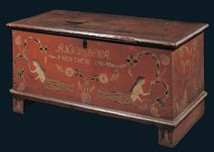 Anne Beer's 1790 Pennsylvania dovetailed blanket chest reflects some maritime connection. In old red paint, it is decorated with mermaids and flowers. Collection American Folk Art Museum, New York. Painted Trunk, Painted Chest, Painted Boxes, Painted Furniture, Antique Chest, Antique Boxes, Antique Trunks, Wooden Trunks, Primitive Furniture