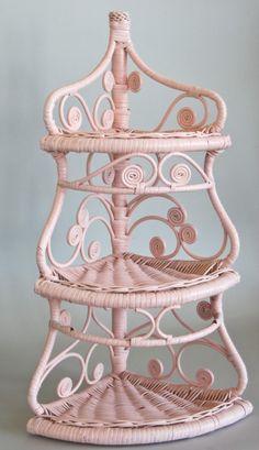 #Wicker #Corner #Shelf Pink and Shabby by... | Wicker Blog wickerparadise.com Этажерка ажурная